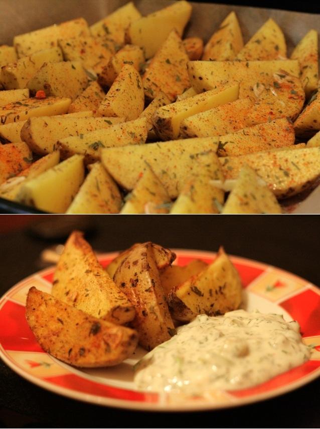Kartoffelecken mit Dill-Joghurt