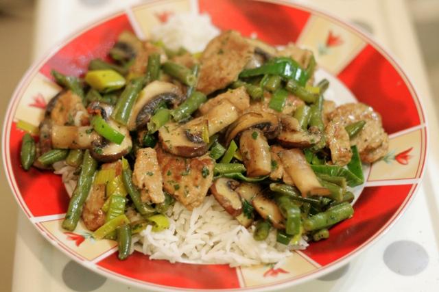 Sahnegeschnetzeltes mit Reis